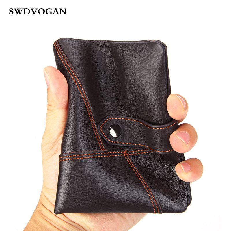 Genuine Leather Men Wallet With Coin Pocket Fashion Brand Designer Cow Leather Men's Purse Wallet Clip Short Walet Patchwork New