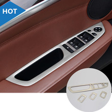 Inner Door Armrest Window Switch Button Cover Trim 4pcs For BMW X5 E70 2009 2013