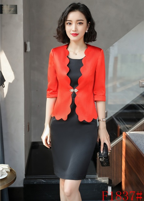 New Style Red Blazer Women Business Suits Formal Office Suits Work