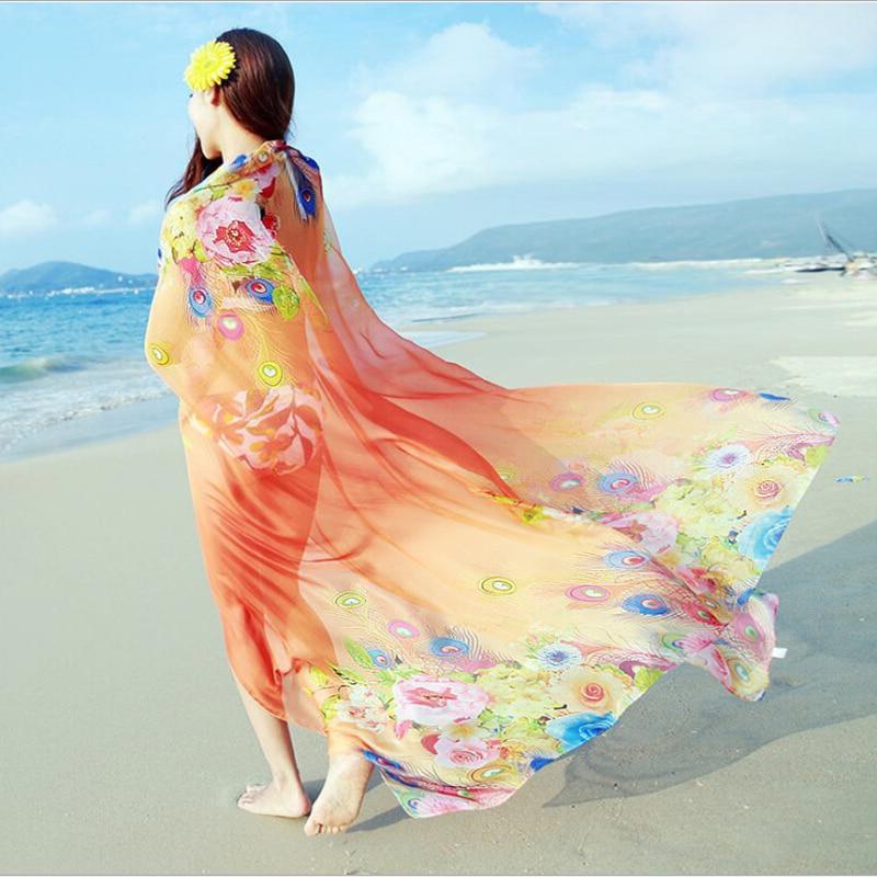 190 * 145cm 2018 Fashion Summer Print Sál Női strand Plus Size - Ruházati kiegészítők