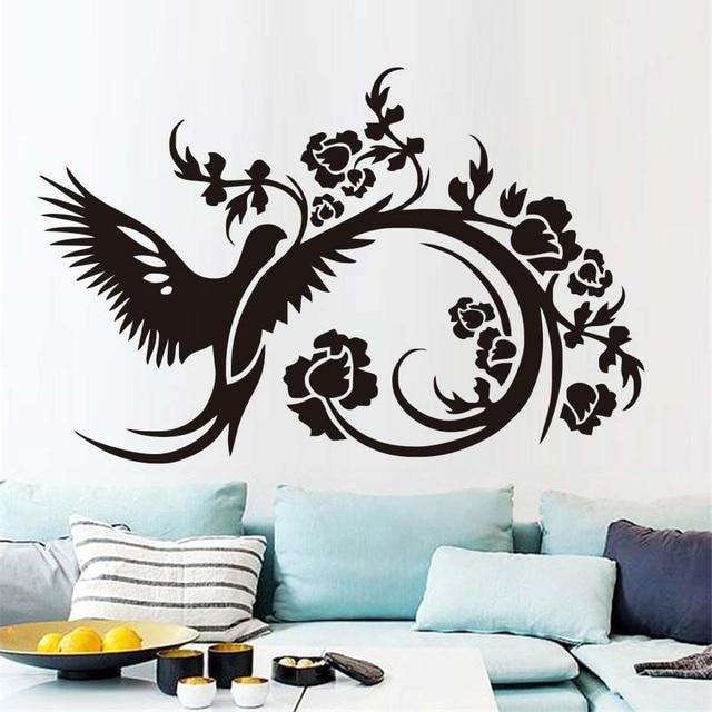 Flower Bird Wall Stickers Creative Bedroom Headboard Wall Decorative ...