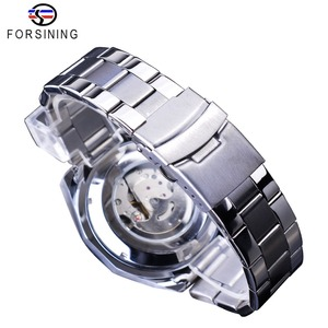 Image 5 - Forsining 2019 New Blue Design Complete Calendar 3 Small Dial Silver Stainless Steel Automatic Mechanical Watches for Men Clock