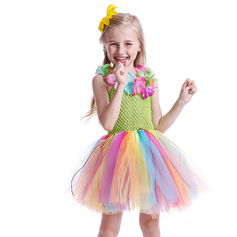 Girls Hawaiian Grass Hula Tutu Dress with Flower Garland Necklace Kids (4)