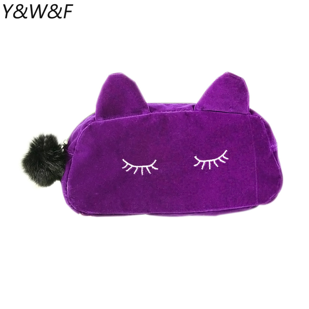 Portable Cosmetic Bag Cartoon Cat Coin Storage Case Travel Makeup Flannel Pouch Makeup Case For Makeup Tool Kits H7JP