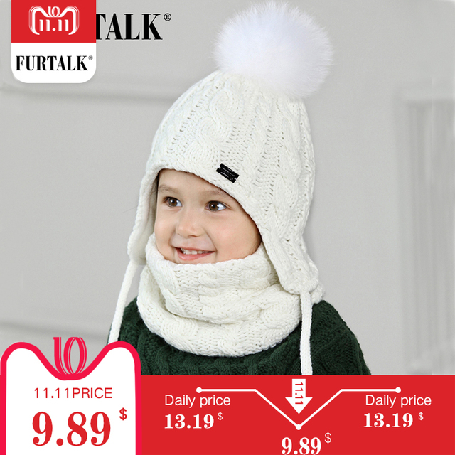FURTALK Children Winter Pompom Hat Scarf Set for Girls Boys Kids Knitted Hat Real Fox Fur Pompom Ears Hats Baby Hat