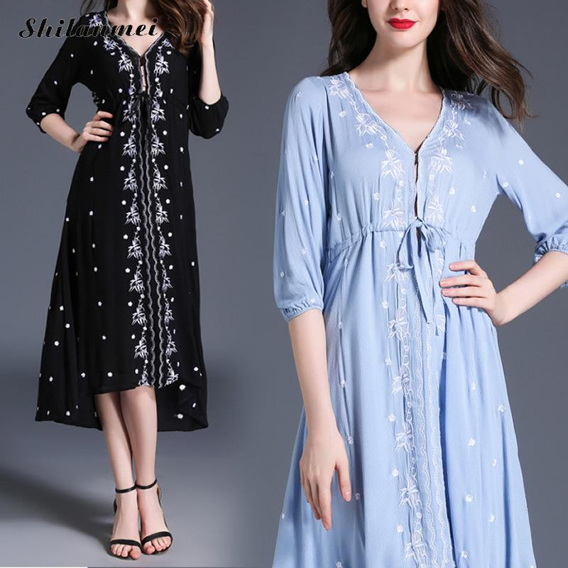 Women Plus Size embroidered floral Bohemia Dress xl xxl 3xl Black Blue vintage elegant Summer Folk Style Dress loose vestido