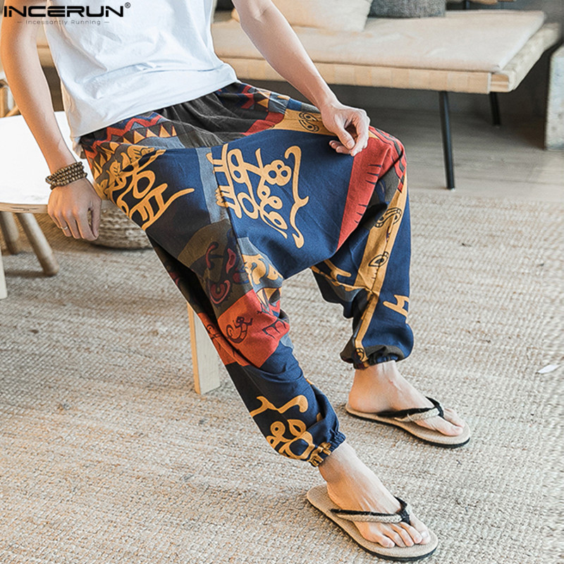 Summer Retro Chinese Floral Men Pants Harem Cotton Linen Big Crotch Trousers Wide Leg Loose Casual Hip-hop Long Pants Men 2019