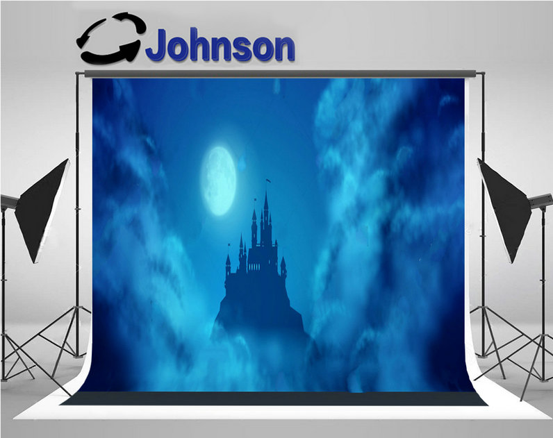 enchanted castle hill against moonlight sky clouds texture background Vinyl cloth Computer print children kids backdrop