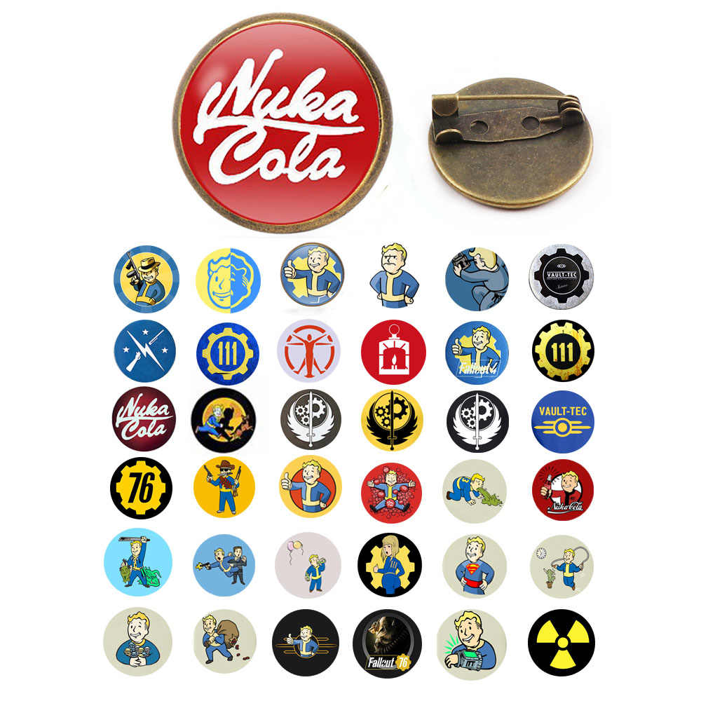 PIP niño Simple Cute Nuka Cola Radiation 4 mujeres broche Broches de aleación moda estilo insignia de cosplay Broches Accesorios