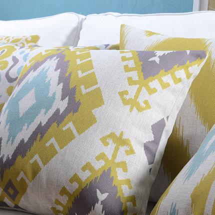 Linu spilvenu pārvalks Dzeltens Zils Ikat Ģeometriskā spilvena - Mājas tekstils - Foto 3