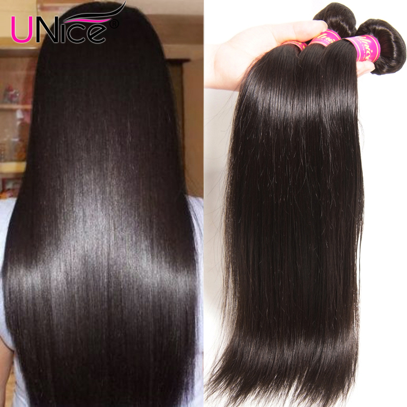 UNICE HAIR Peruvian Straight Hair Bundles Natural Color 100% Human Hair Extensions 8-30inch Remy Hair Weaving 1 Piece(China)