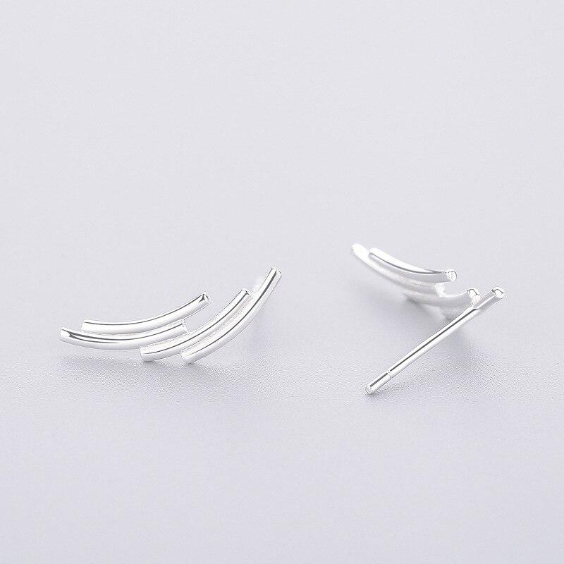INZATT Minimalist Real 925 Sterling Silver Stud Earrings Punk Geometric Line Style For Women Birthday Party Fashion Jewelry Gift