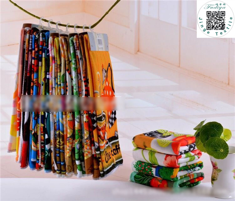 Hot sale Kitchen Towel Dish Cleaning Cloth 5pcs/lot Microfiber absorbent Bright Colorful printed Tea Towels Cooking Tools