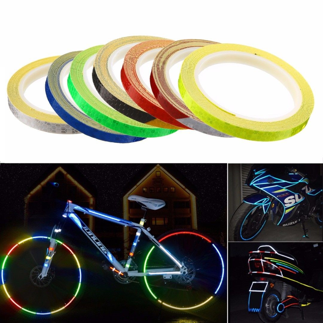 1cmx8m Reflective Stickers Moutain Bicycle Reflector Fluorescent Motorcycle Safety Warning Rim Decal Tape Bicycle Accessories