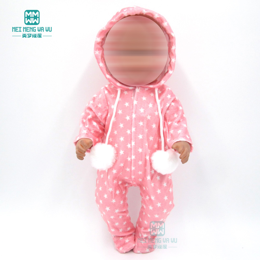 Clothes For Doll Fit 43 Cm New Born Doll Accessories Pink Piece Crawling Clothes Baby Jumpsuit