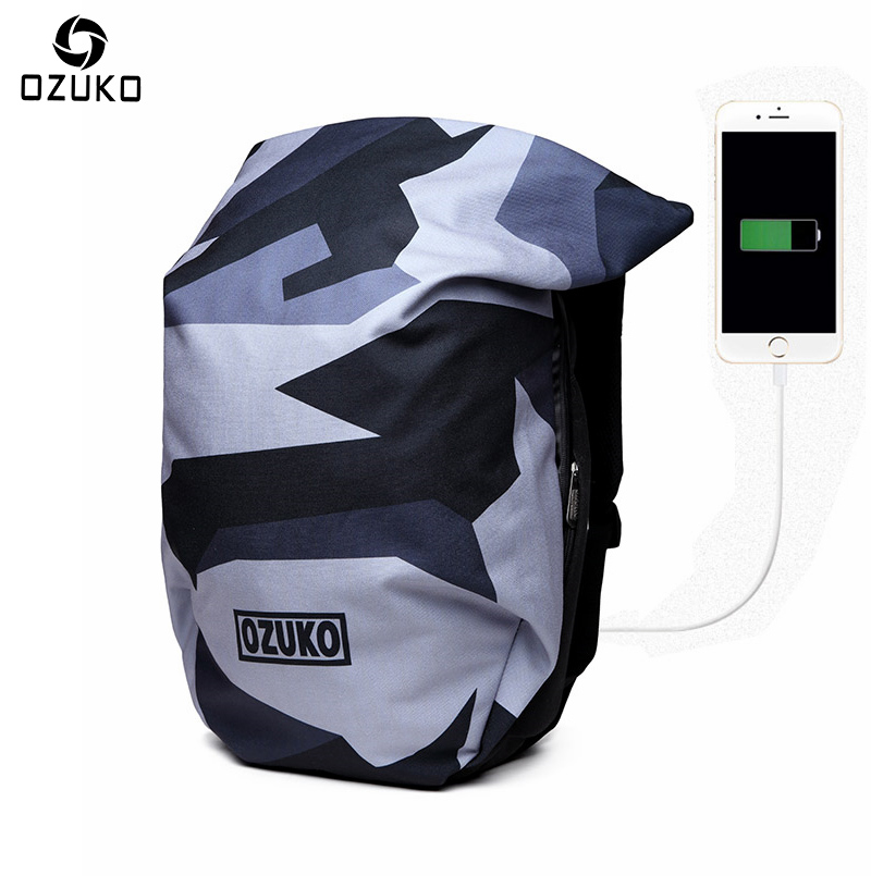 New OZUKO USB Charge 15.6 Inches Laptop Backpack Men Fashion Anti-theft Backpacks Camouflage Waterproof Travel Bag Male Mochila ozuko fashion men backpack anti theft rucksack school bag casual travel waterproof backpacks male laptop computer bag mochila