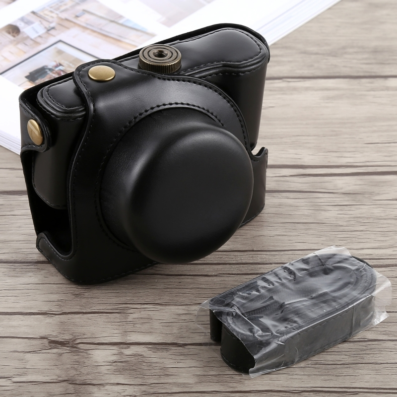 Retro Vintage Luxury Full Body PU Leather Digital Camera <font><b>Bag</b></font> Case For Panasonic <font><b>LUMIX</b></font> <font><b>LX100</b></font> Camera Cover Cases with Strap image