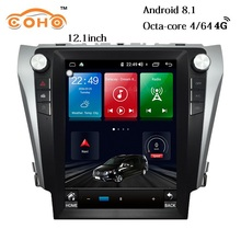цена на Camry Android 8.1 4+64G 8-Core 12.1 inch Tesla car navigation android dvd player for 2012-2016 Toyota Camry