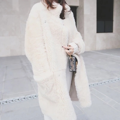 Perfect profile merino wool fur coat han edition integrated loose coat