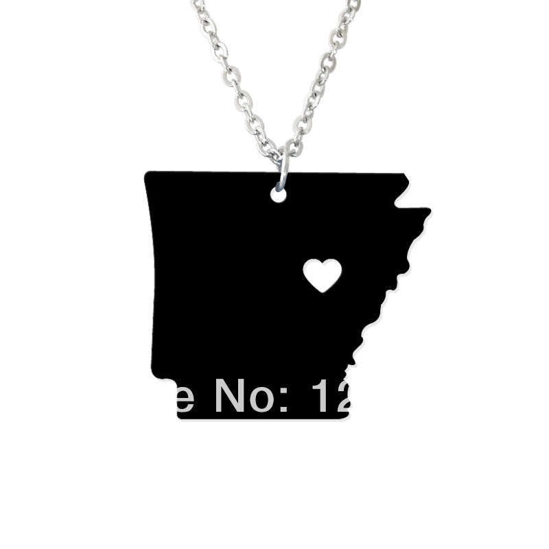 State jewelry - I heart Arkansas Necklace - Map Pendant - State Charm - Personalized Arkansas Map Heart necklace