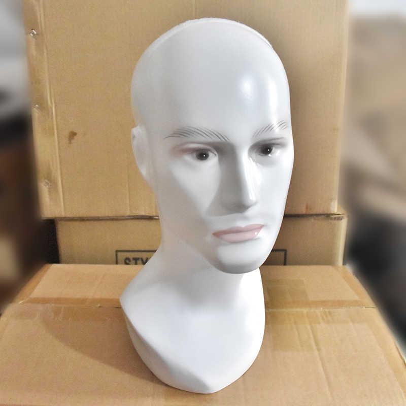 Бесплатная доставка Стекловолокно Мужская голова-манекен для парика Maquiagem кукла голова в шляпе и очках парик VR дисплей волосы манекен для парика