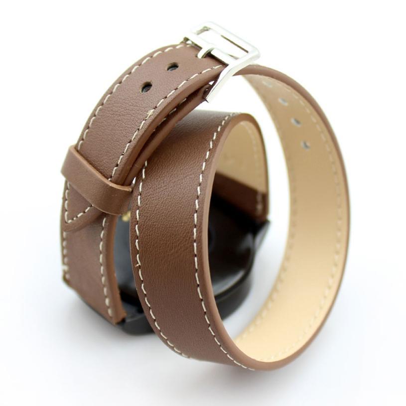 Superior  Long Genuine Leather Band Double Tour Bracelet Watchband For Huawei Smart Watch 42mm Dec24** long genuine leather watchband strap double tour bracelet for motorola moto 360 2nd generation women s 42mm smartwatch