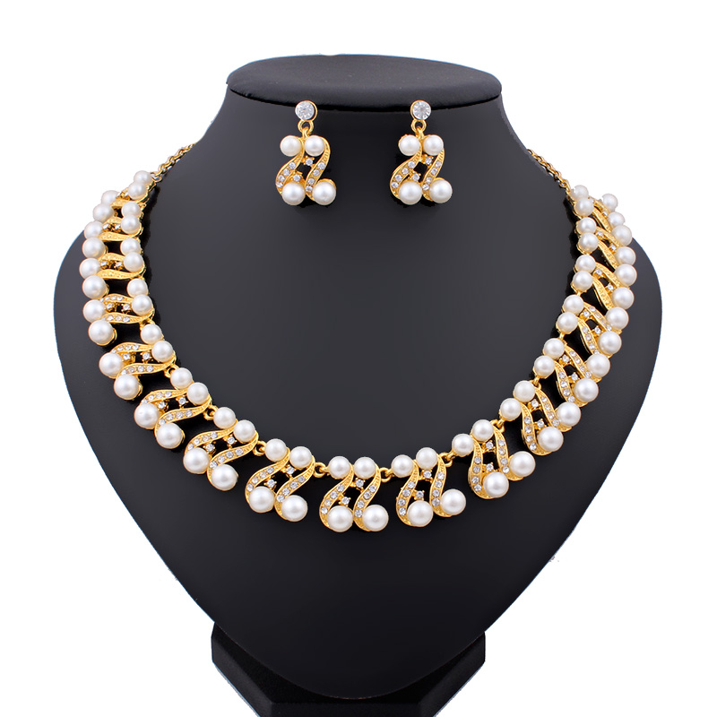 2015 Fashion Gold Pated Crystal Wedding Bridal Jewelry Set African Beads Simulated-Pearl Necklace Jewelry Sets Costume