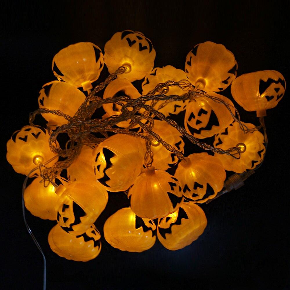 5M 20leds Fairy String Light Waterproof Pumpkin Garland Outdoor Lighting Black Wire For Hallowmas Christmas Funny Light