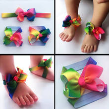 Super Cute Hot Foot Flower Barefoot Sandals+ Headband Set for Baby Infants Girls Headwear Photographic Props(China)
