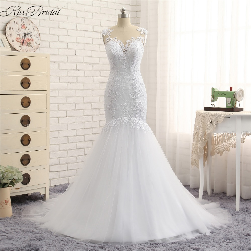 Mermaid Style Lace Wedding Gowns: Abito Da Sposa New Eleagnt Tulle Lace Wedding Dresses