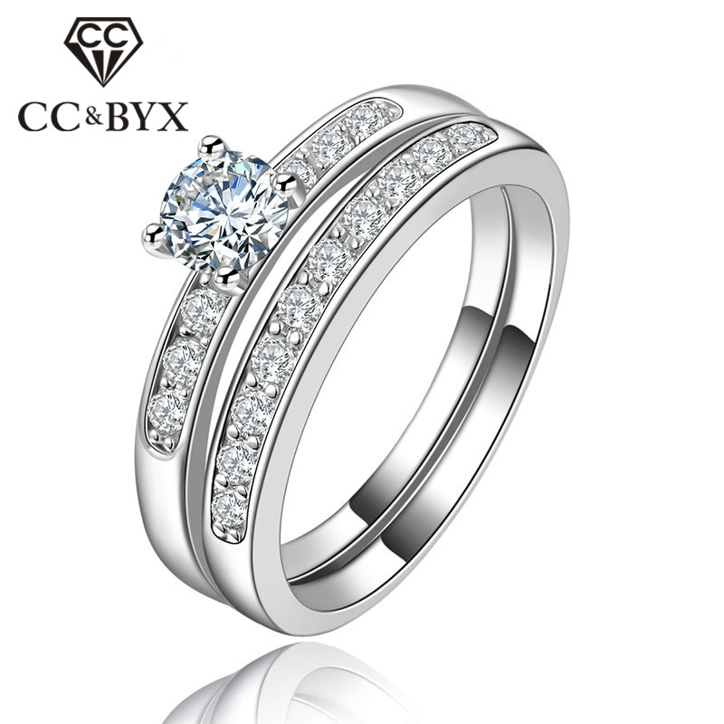 حلقه جواهرات برند جدید Vintage 0.75 Carat Shine Stone Cincin Wanita Rackable Double Rings for Women حمل رایگان CC124