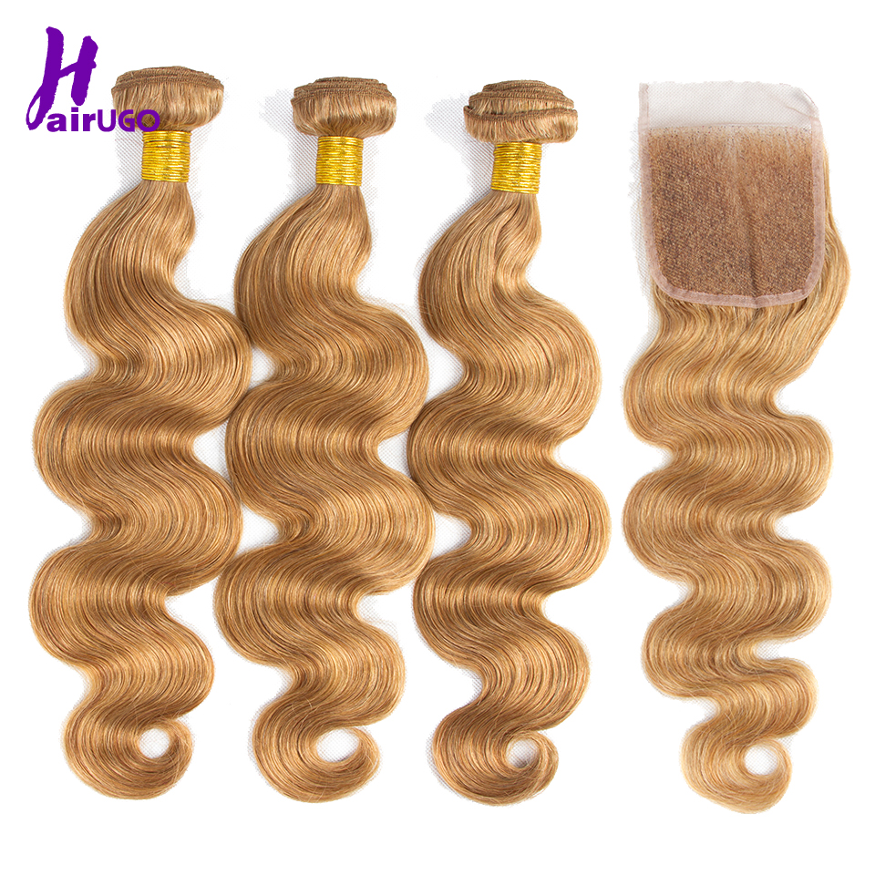 HairUGo Honey Blonde Bundles With Closure #27 Remy Malaysian Hair Weave Body Wave 100%Human Hair Bundles With Closure Hair Weave