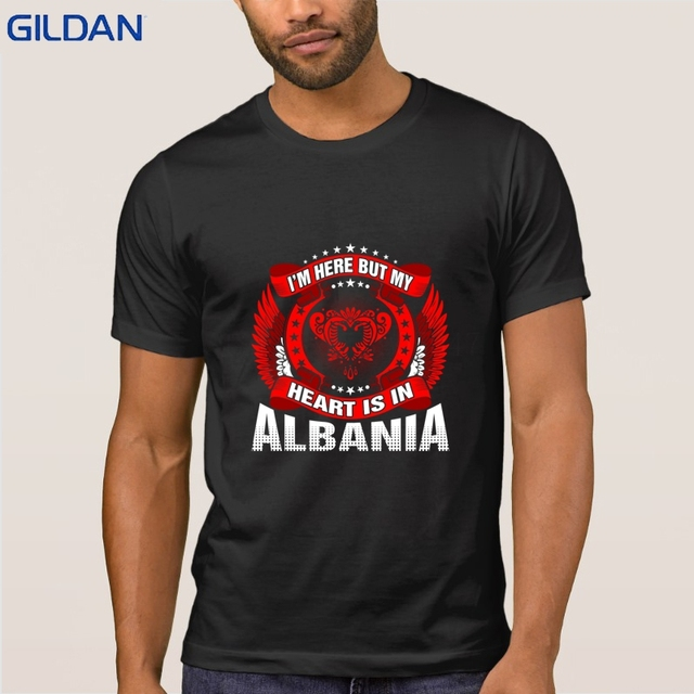75011c06366de3 Im Here But My Heart Is In Albania T Shirt For Men Creative Letter T Shirt
