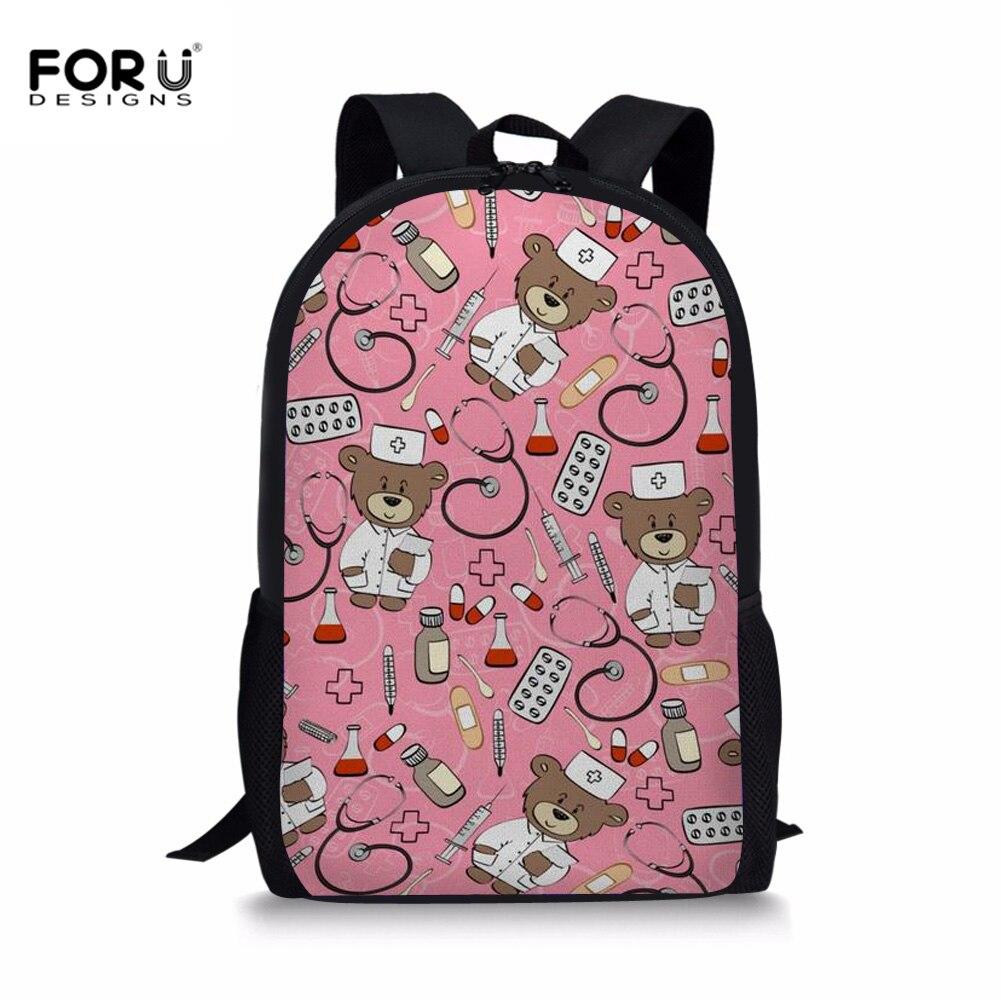 FORUDESIGNS Cartoon Nurse Pattern Schoolbag Teenager Girls School Backpack Doctor Bear School Bags For Teenager Kid Korean Style