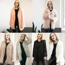 2016 Women's Winter Warm Long Faux Fur Fox Coat Jacket Casacos Femininos Long Sleeve Parka Hair Jacket Coat Outerwear Plus Size