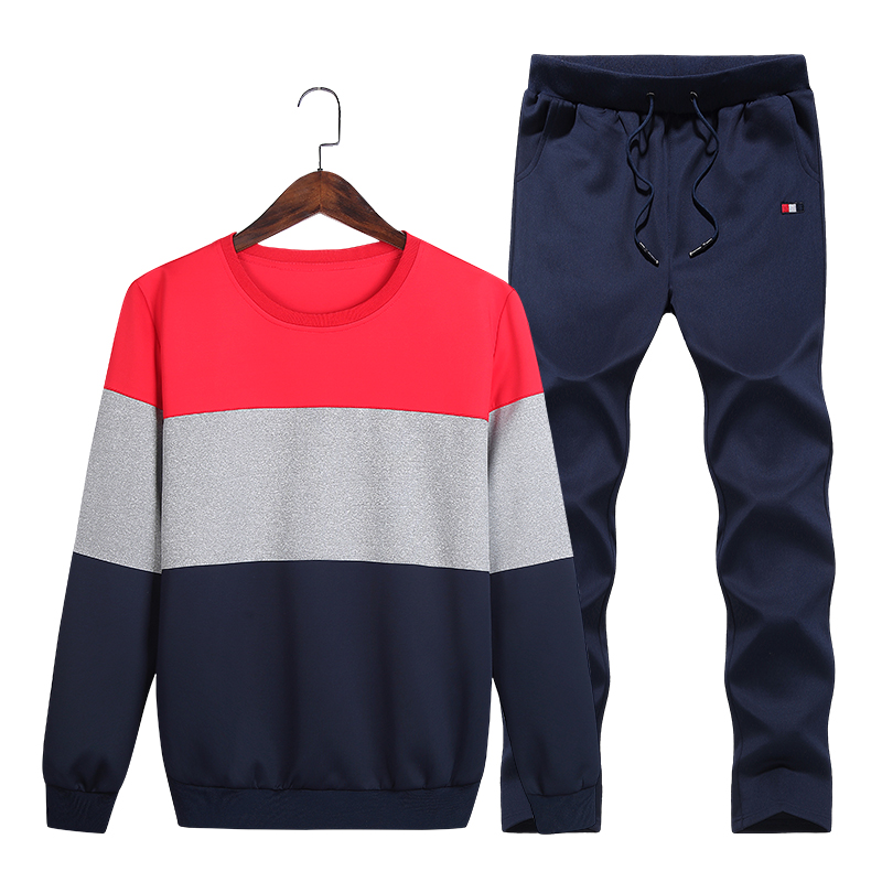 Casual Men Tracksuit Sets O-Neck Sportwear Men Sweatshirt Full Long Sleeves Pants Letter Fashion Men Sets Moletom Masculino New
