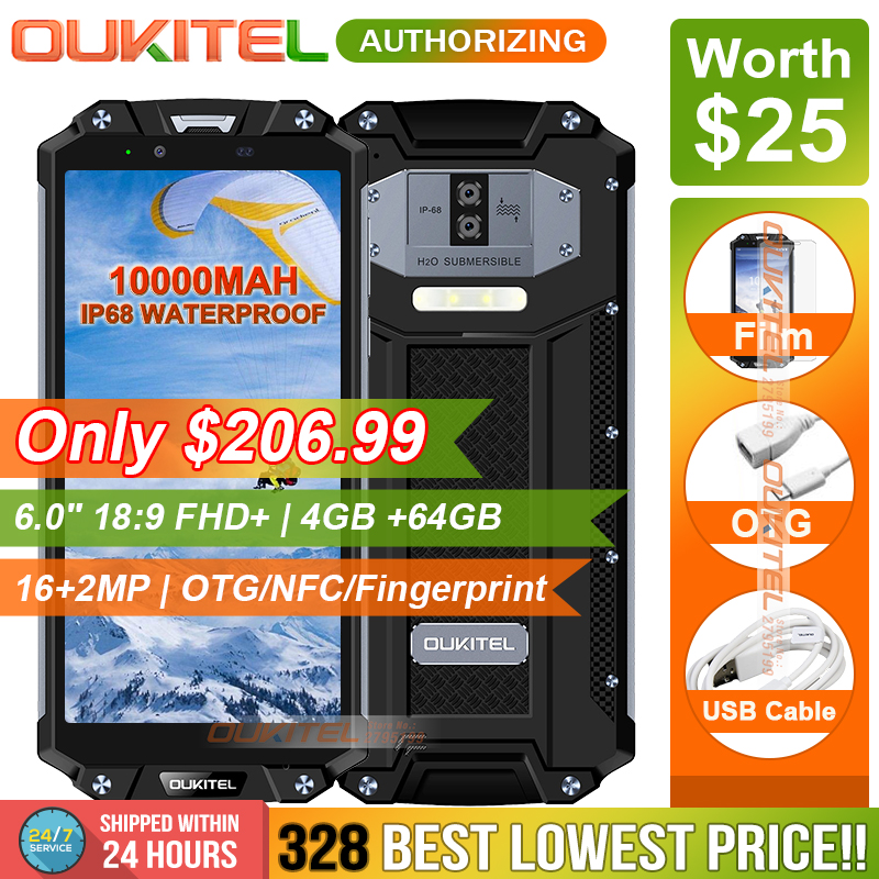 OUKITEL WP2 IP68 Waterproof Dust Shock Proof Mobile Phone 4GB 64GB MT6750T Octa Core 6.0″ 18:9 10000mAh Fingerprint Smartphone