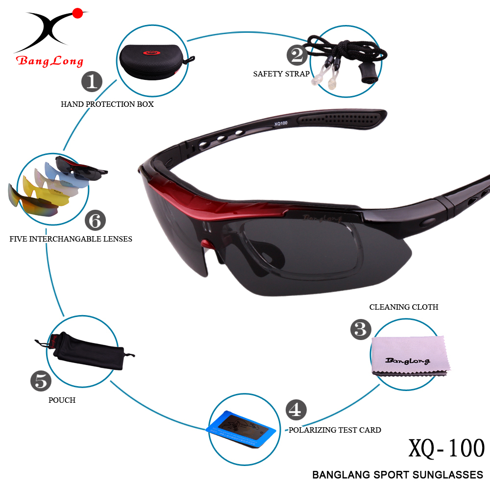 BANGLONG hot sale UV400 Sun glasses for women and men polarized PC frame with 5 lens interchangeable sport cycling sunglasses