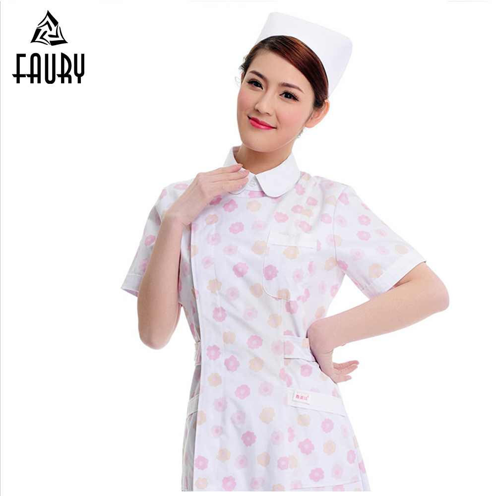 Nurse Uniforms Medical Scrubs Clothes Beauty Shop Short Sleeve Doctor Clothing Hospital SPA Pharmacy Women Female Work Dress