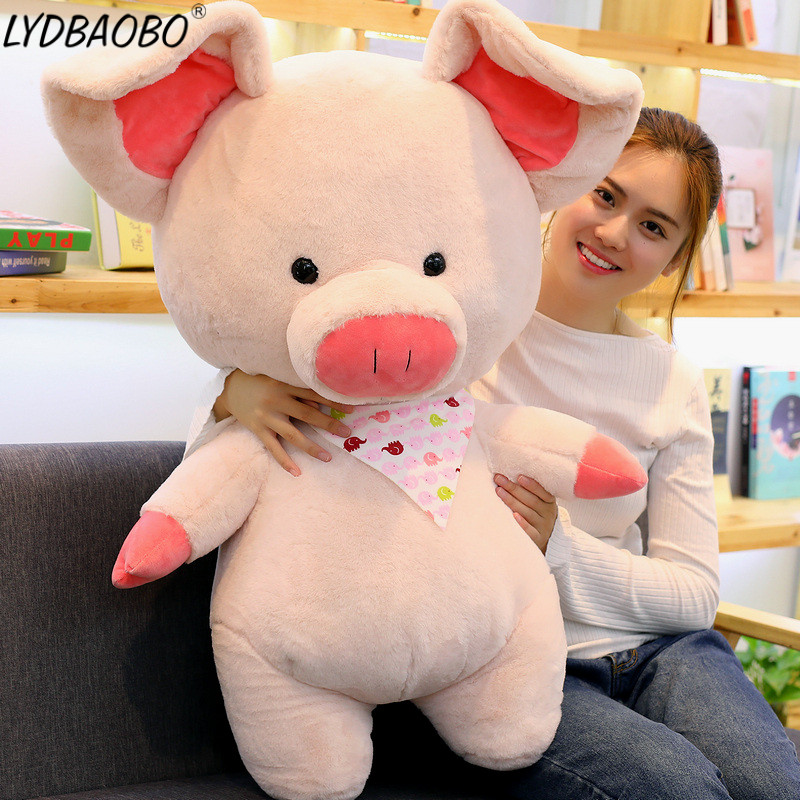 LYDBAOBO 1PC Giant 70CM Cartoon Pig Plush Doll High Quality Plush Sunny Pig Animal Toy Soft Pillow Toys Children Birthday Gifts 50cm turned out to be a handsome man pig rabbit plush toy cuddly doll animal pillow to give gifts