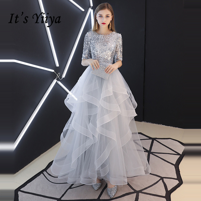It's YiiYa Evening Dress 2019 Real Sequins Half Sleeve Tiered Hems Evening Gowns Gray Party Dresses LX1398 robe de soiree(China)