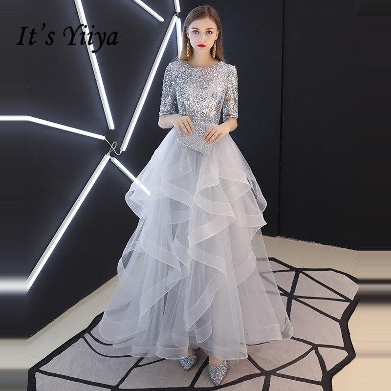 C'est YiiYa robe de soirée 2019 vrai paillettes demi manches à niveaux ourlets robes de soirée gris robes de soirée LX1398 robe de soirée