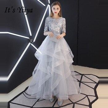 f508d9660 Elegante Bohemia negro de las mujeres vestidos de noche largo de 2019 baile  de graduación vestidos de cuello en V flores bordado vestido Formal vestido  de ...