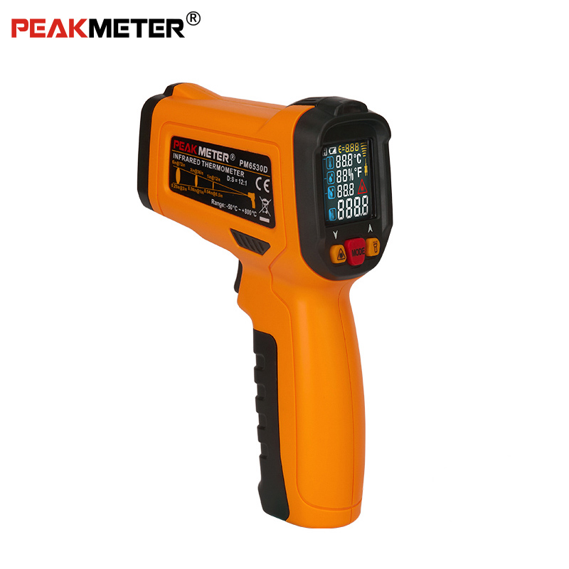 PEAKMETER PM6530D LCD Display Handheld Infrared Thermometer -50~800 with Humidity and Dew Point IRT K type Ambient UV LightPEAKMETER PM6530D LCD Display Handheld Infrared Thermometer -50~800 with Humidity and Dew Point IRT K type Ambient UV Light
