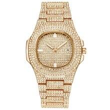 Часы в стиле хип-хоп со стразами для мужчин, золотые часы из нержавеющей стали, мужские деловые мужские кварцевые часы, водонепроницаемые Relogio Masculino, новинка