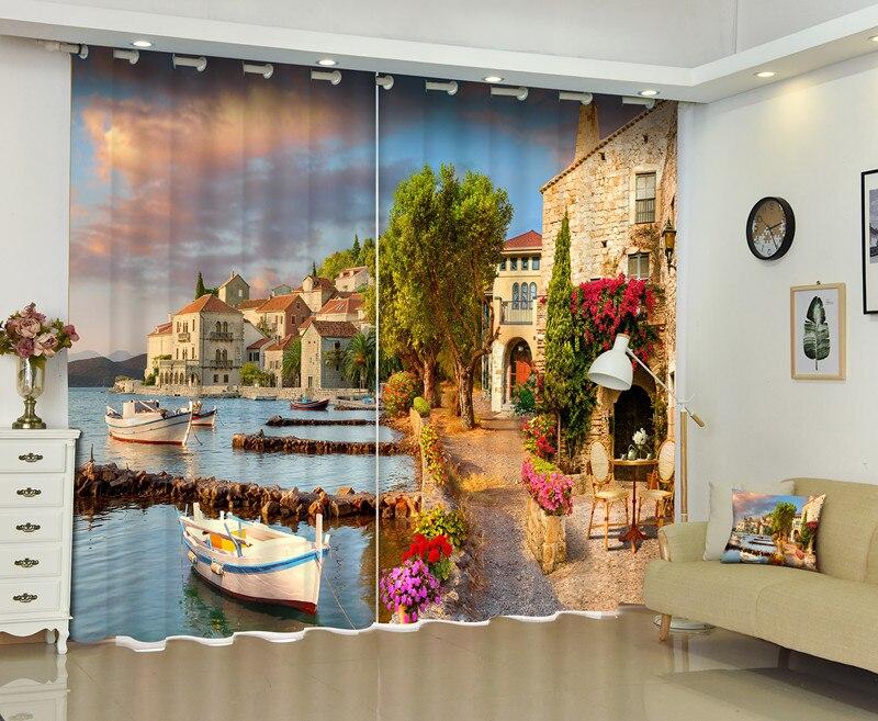 3D rideaux Photo de coucher de soleil navire fenêtre parasol rideaux Polyester rideau salon chambre