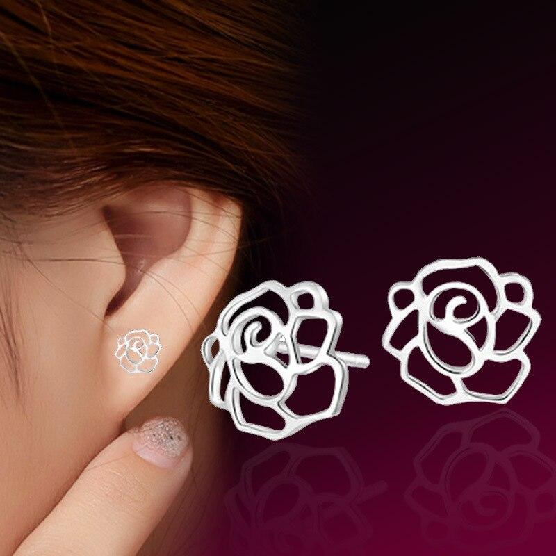 2016 new hollowed out romantic rose shape silver plated stud earrings for women stud earring female TFSJE023