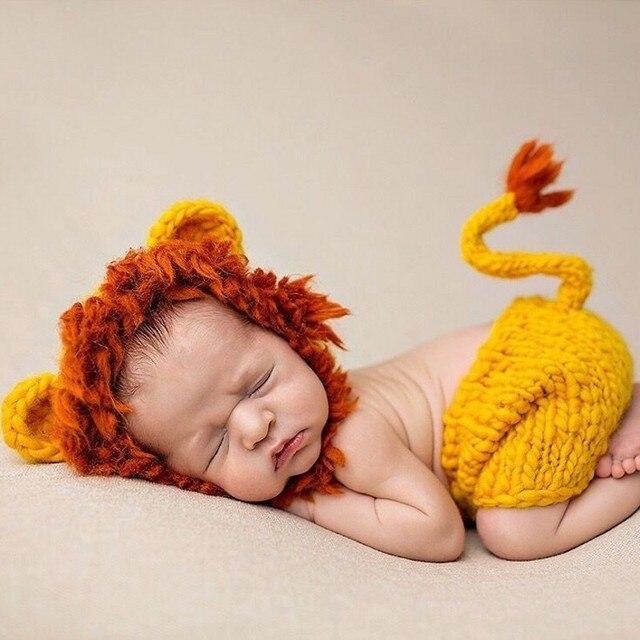 Lion Twinset Baby set für baby fotografie Neugeborenen Hut Stricken ...