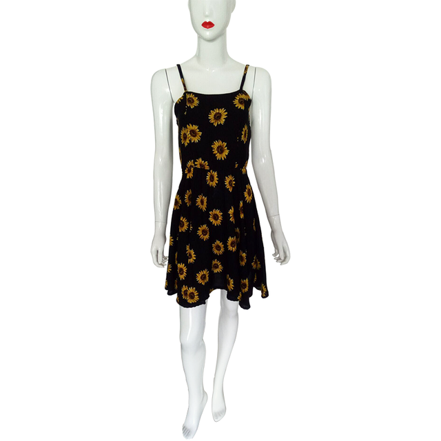 2017 New summer sexy cute strap women dress sunflower printed short mini slim sleeveless backless vestidos party beach dress 611