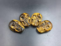 Tiger Eye Skull Cabochon Hand Carved Tiger Stone Skull Cabochon 25x35mm Gemstone Cabochon Flat Back Skull